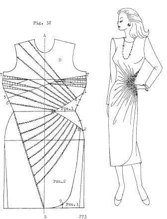 moldes de vestidos drapeados en costado